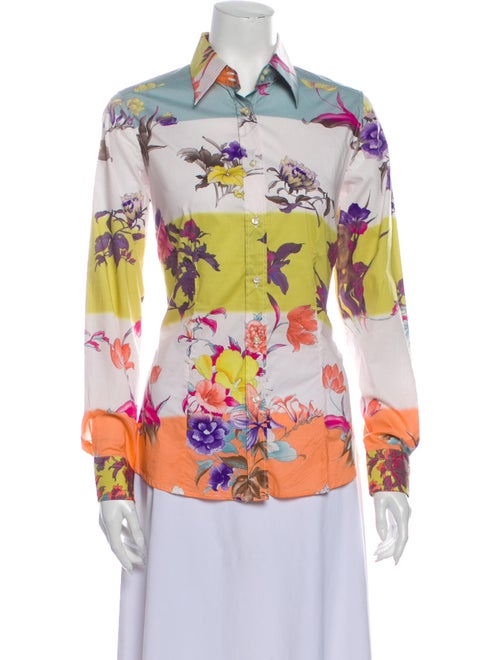 Etro Floral Print Long Sleeve Button-Up Top White