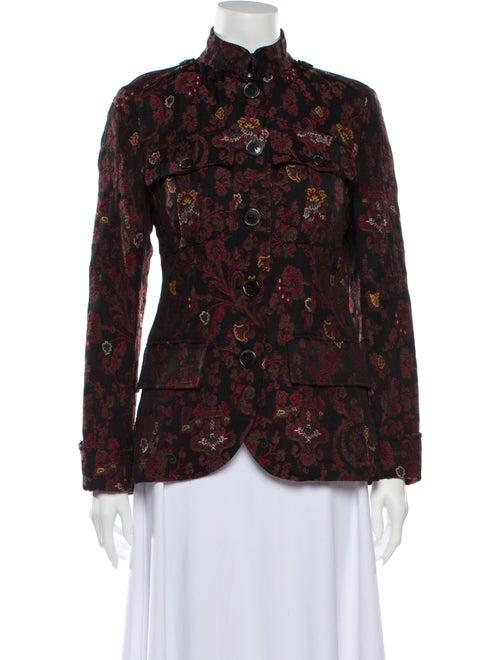 Etro Fleece Wool Floral Print Utility Jacket Wool