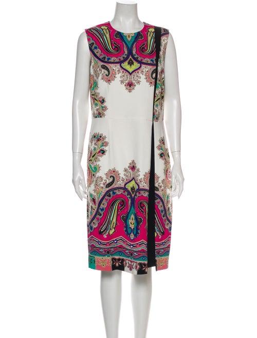 Etro Paisley Print Midi Length Dress White