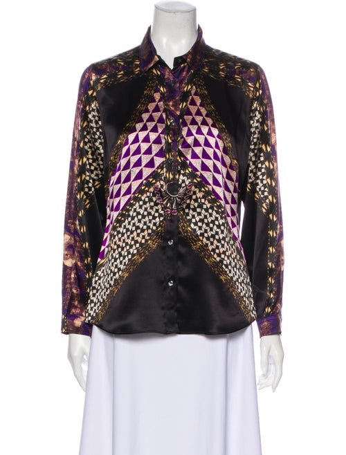 Etro Printed Long Sleeve Button-Up Top Black