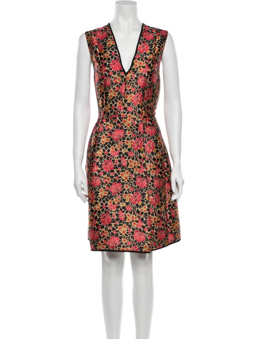Etro Floral Print Knee-Length Dress Red