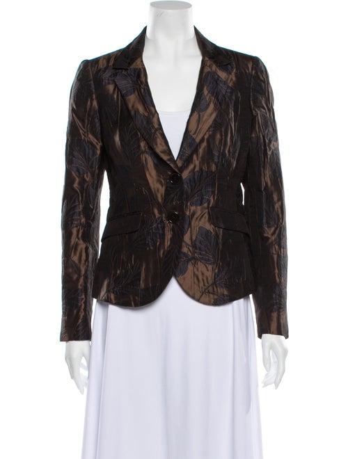 Etro Silk Floral Print Blazer Brown