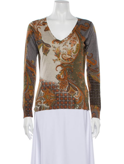 Etro Silk Paisley Print Sweater - image 1