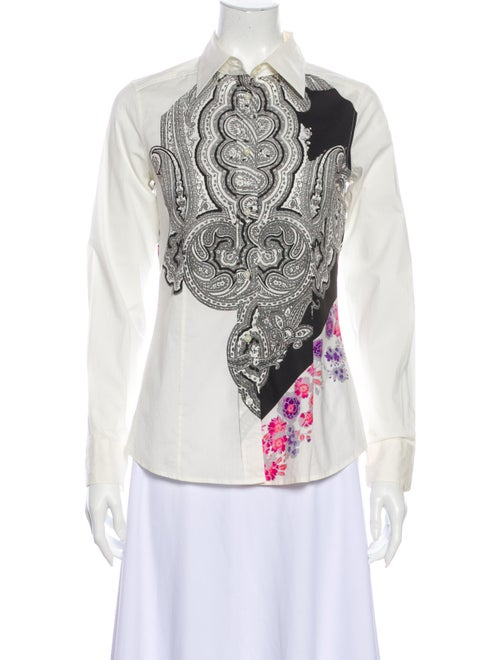 Etro Paisley Print Long Sleeve Button-Up Top White