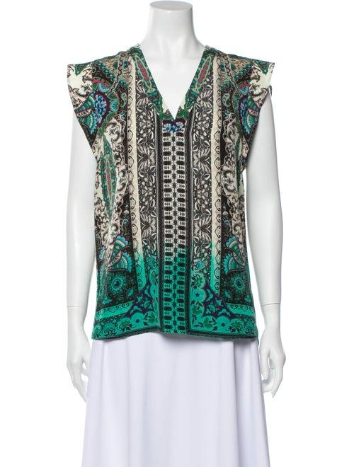 Etro Silk Printed Blouse Green