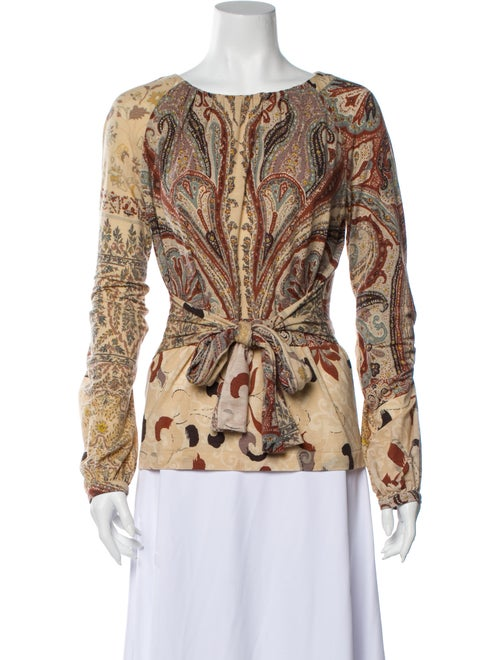 Etro Paisley Print Scoop Neck Blouse