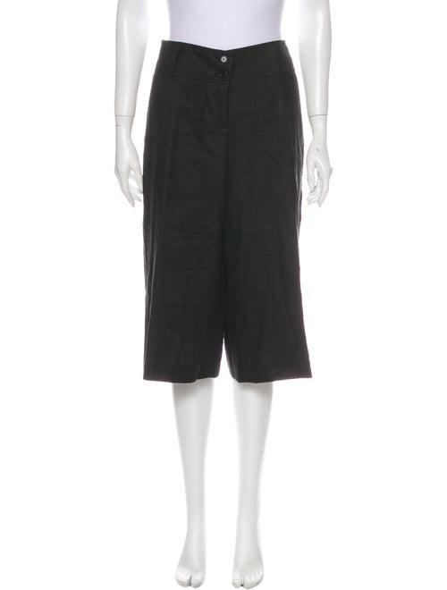 Etro Linen Wide Leg Pants Black
