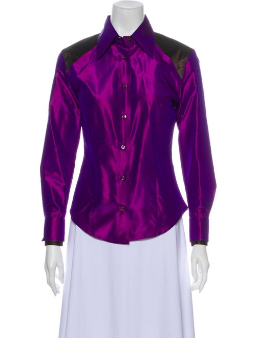 Etro Silk Long Sleeve Button-Up Top Purple