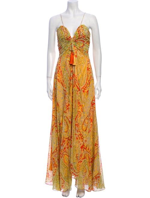 Etro Silk Long Dress Yellow