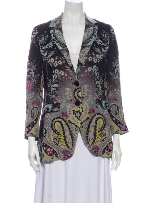 Etro Silk Paisley Print Blazer Black