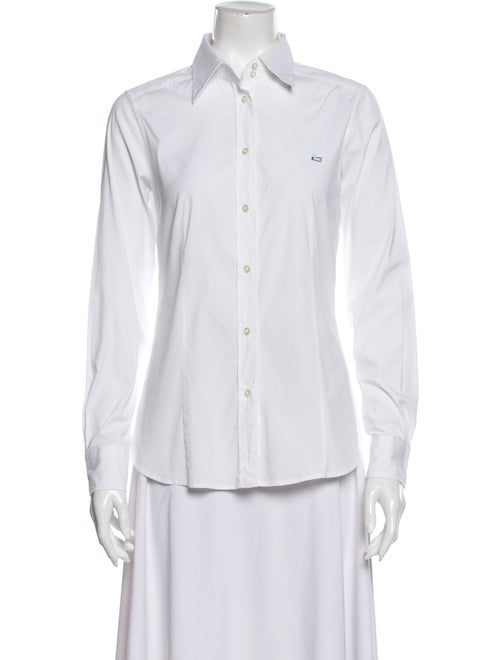 Etro Long Sleeve Button-Up Top White