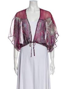 Etro Silk Paisley Print Crop Top