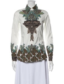 Etro Printed Long Sleeve Button-Up Top w/ Tags