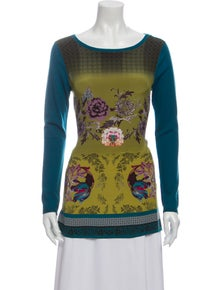 Etro Wool Floral Print Top