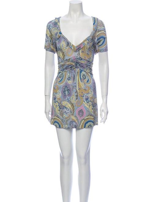 Etro Paisley Print Mini Dress Purple