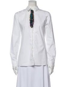 Etro Mock Neck Long Sleeve Button-Up Top