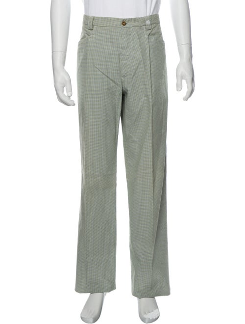 Etro Plaid Print Pants Green - image 1