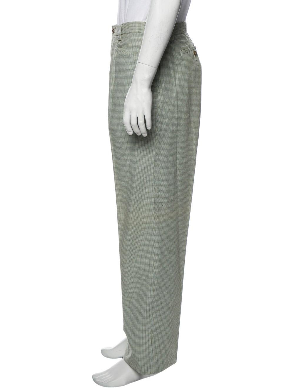 Etro Plaid Print Pants Green - image 2