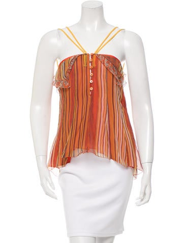 Etro Sleeveless Printed Silk Top None