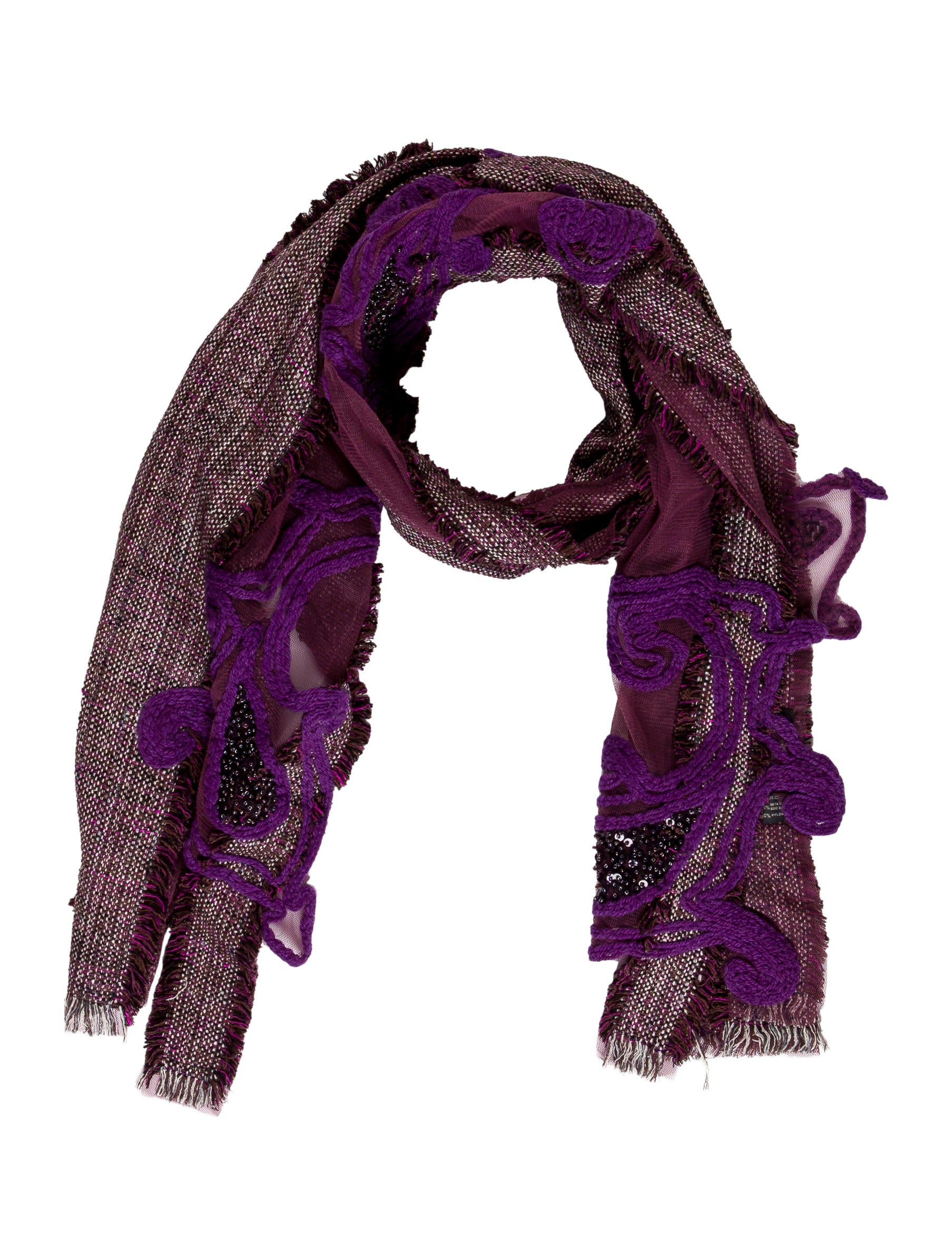 etro embellished embroidered mesh scarf accessories