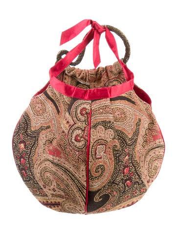 Patterned Satin-Trimmed Handle Bag