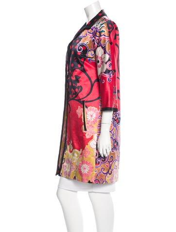 Floral Print Knee-Length Coat