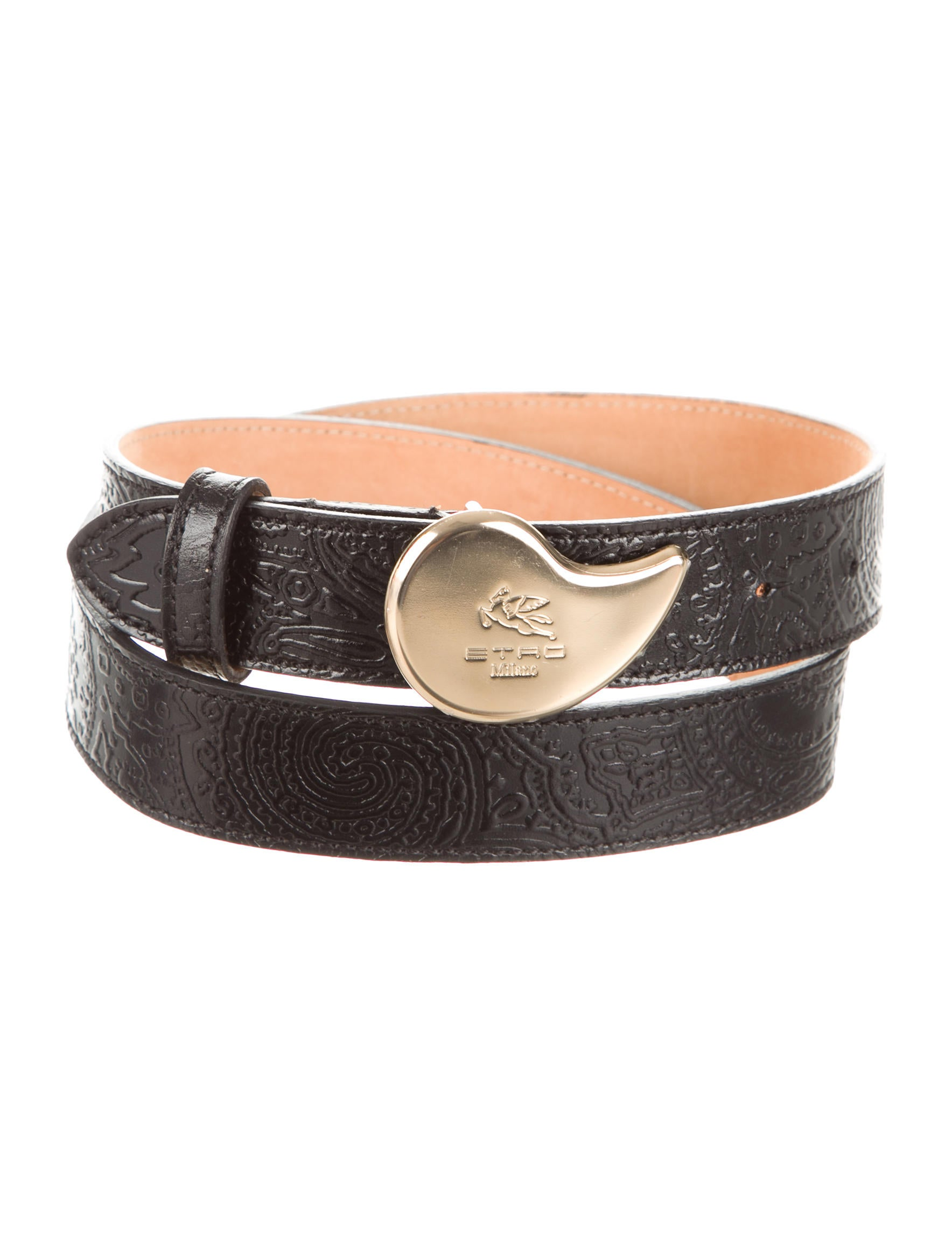 etro embossed leather belt accessories etr39853 the