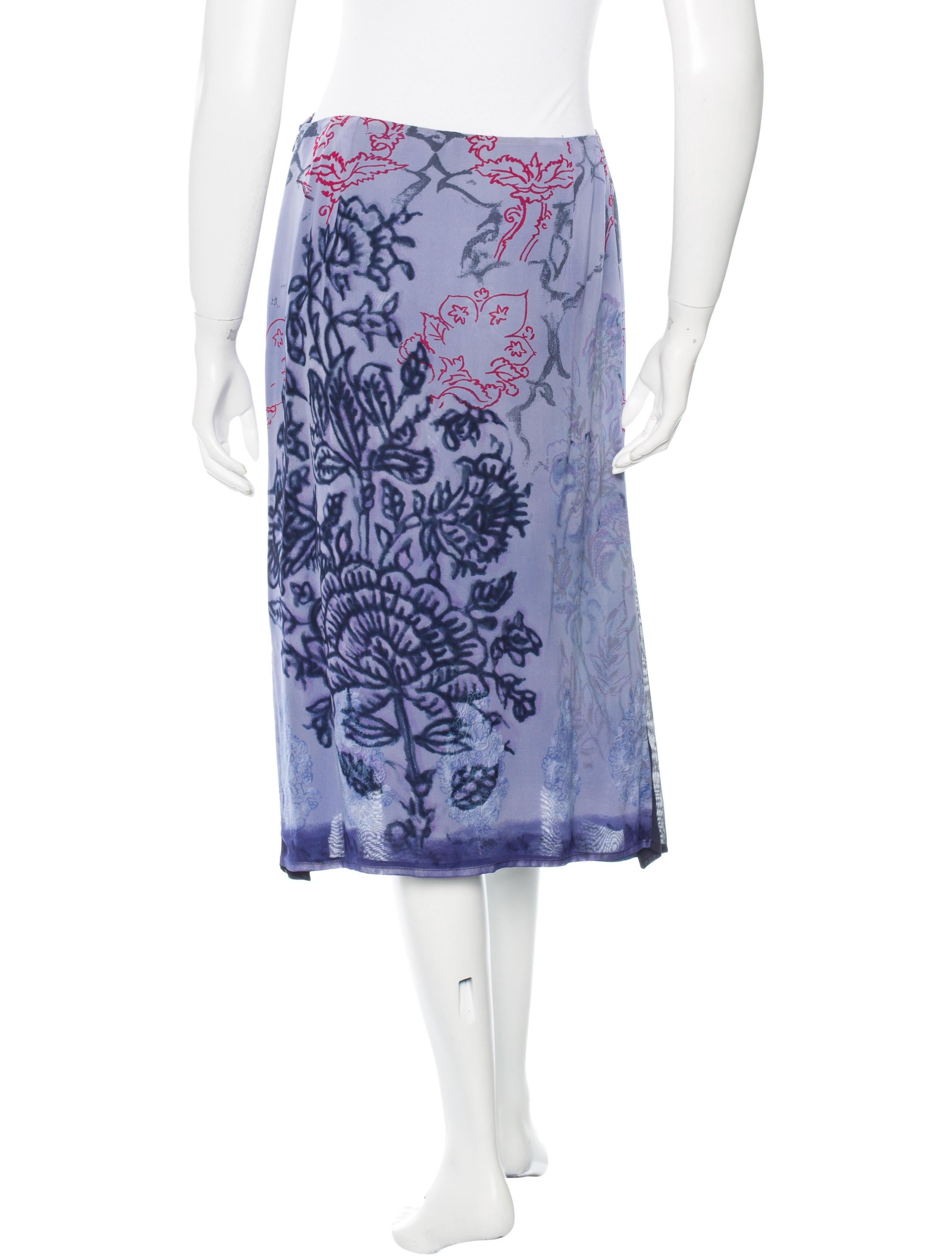 etro floral print knee length skirt clothing etr39916
