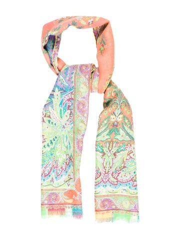 Etro Wool & Silk Blend Floral Scarf