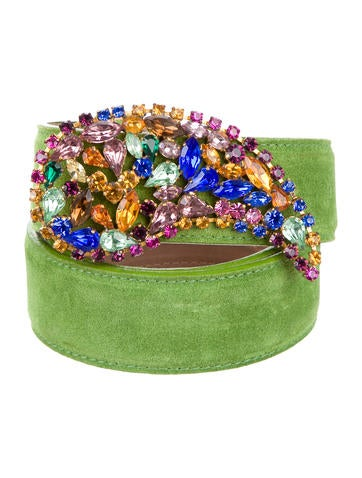 Etro Suede Jewel-Embellished Belt