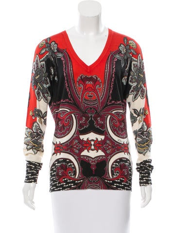 Etro Printed Silk & Cashmere-Blend Sweater None