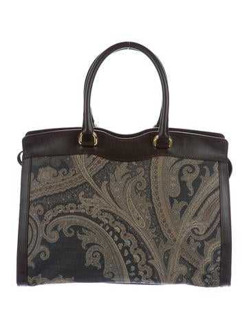 Leather-Trimmed Paisley Bag