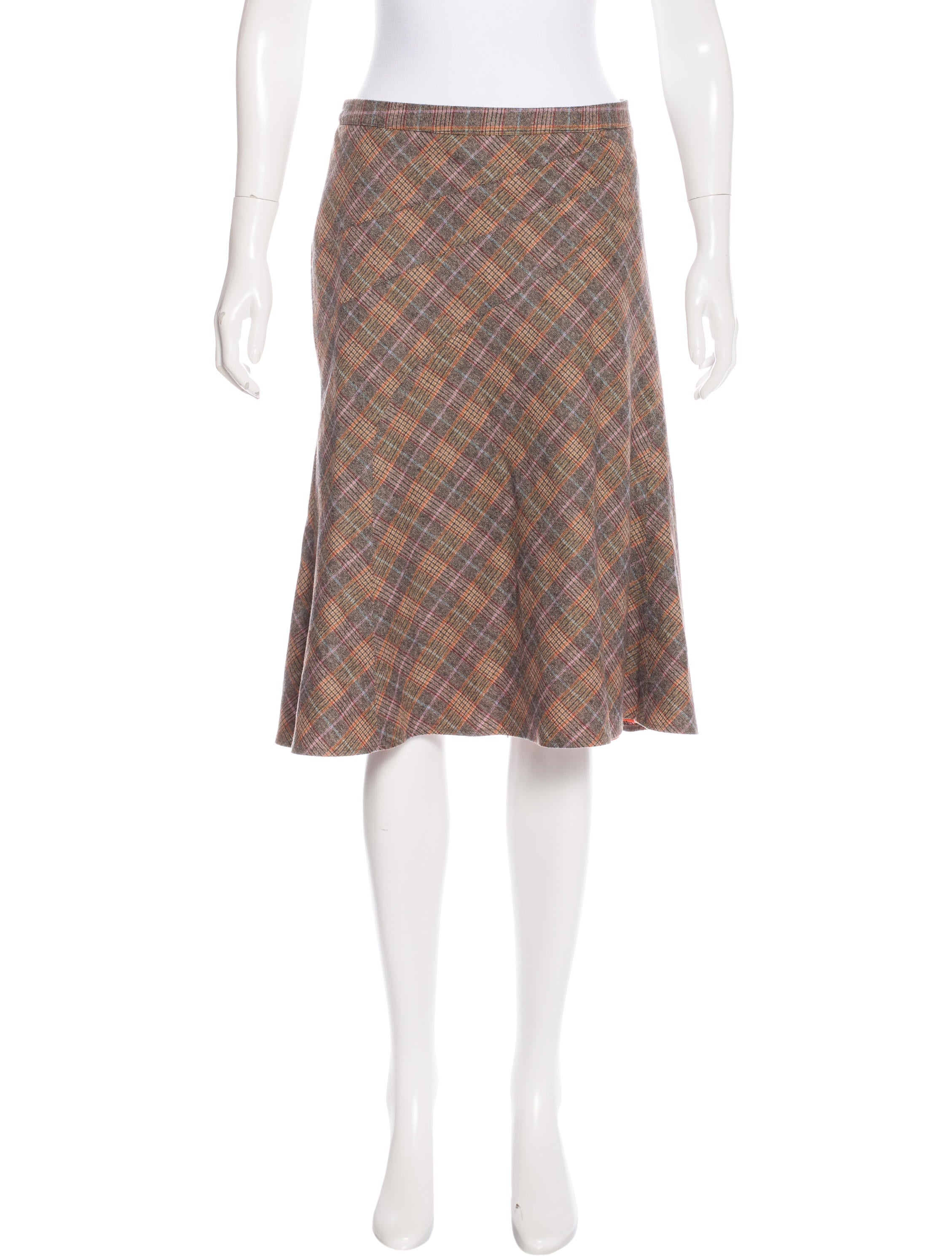 Etro Wool Plaid Skirt Clothing Etr43200 The Realreal