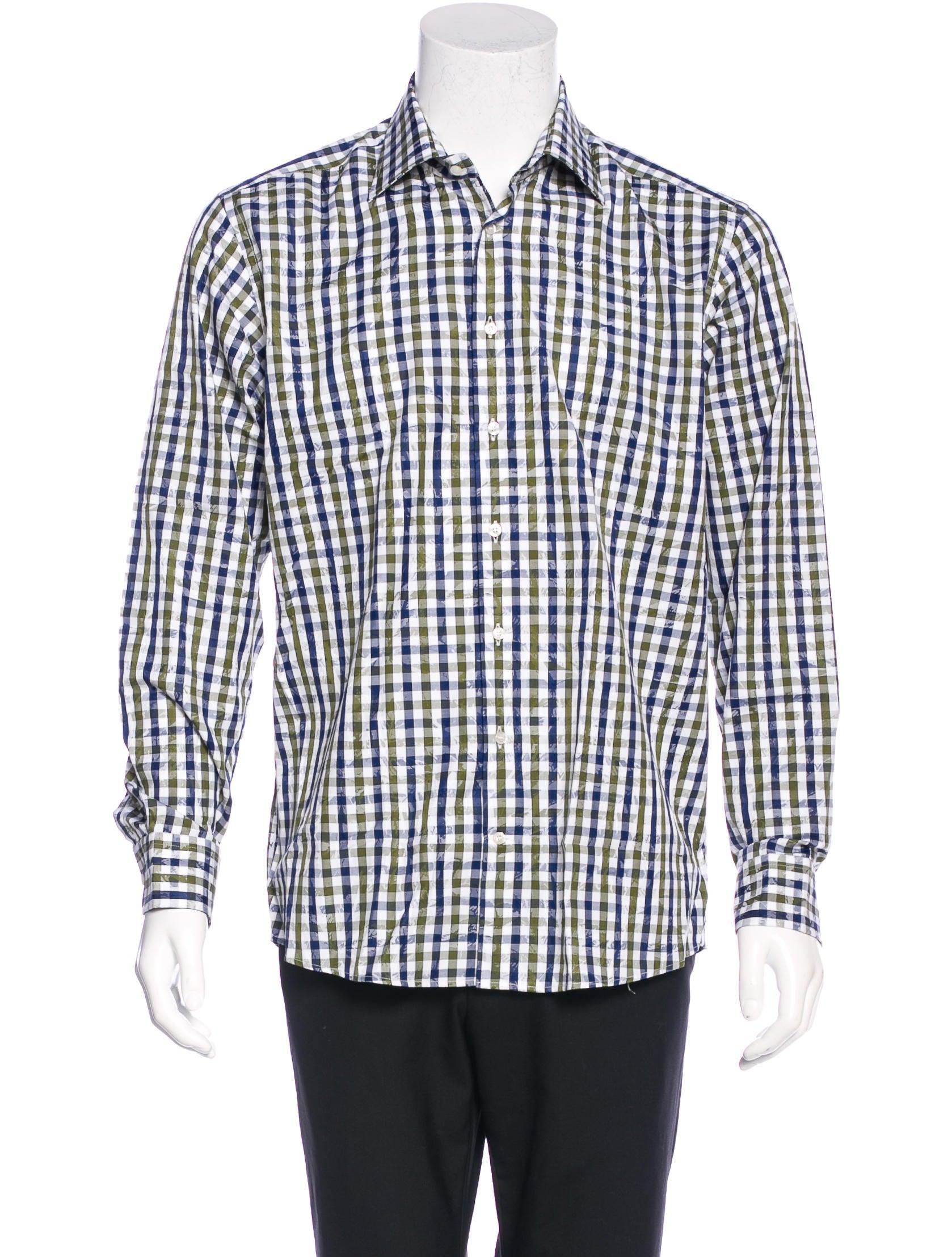 Etro gingham dress shirt w tags clothing etr43322 for Gingham dress shirt men