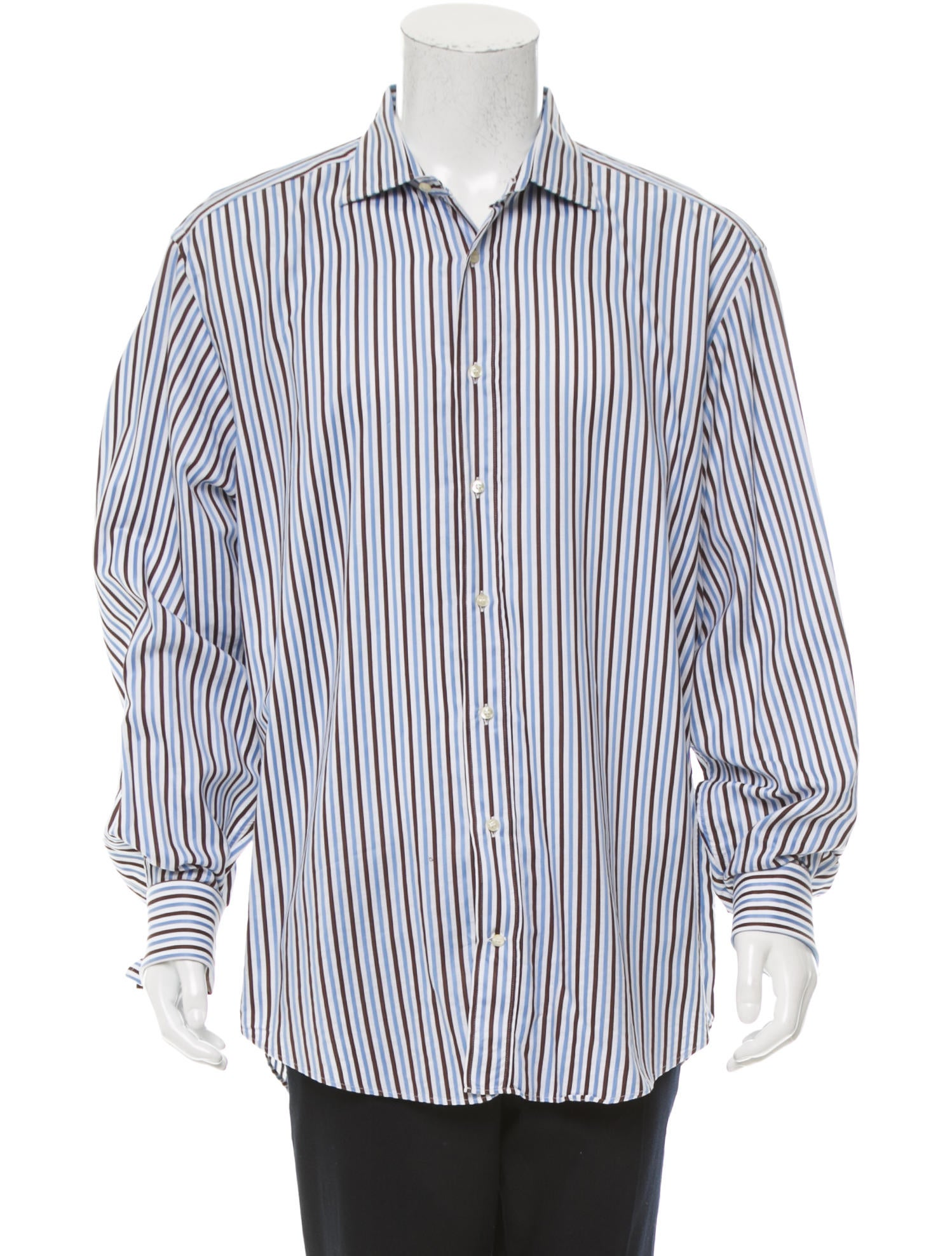 Etro striped button up shirt clothing etr44224 the for Striped button up shirt mens