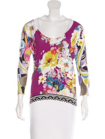 Etro Floral-Print Silk Sweater None
