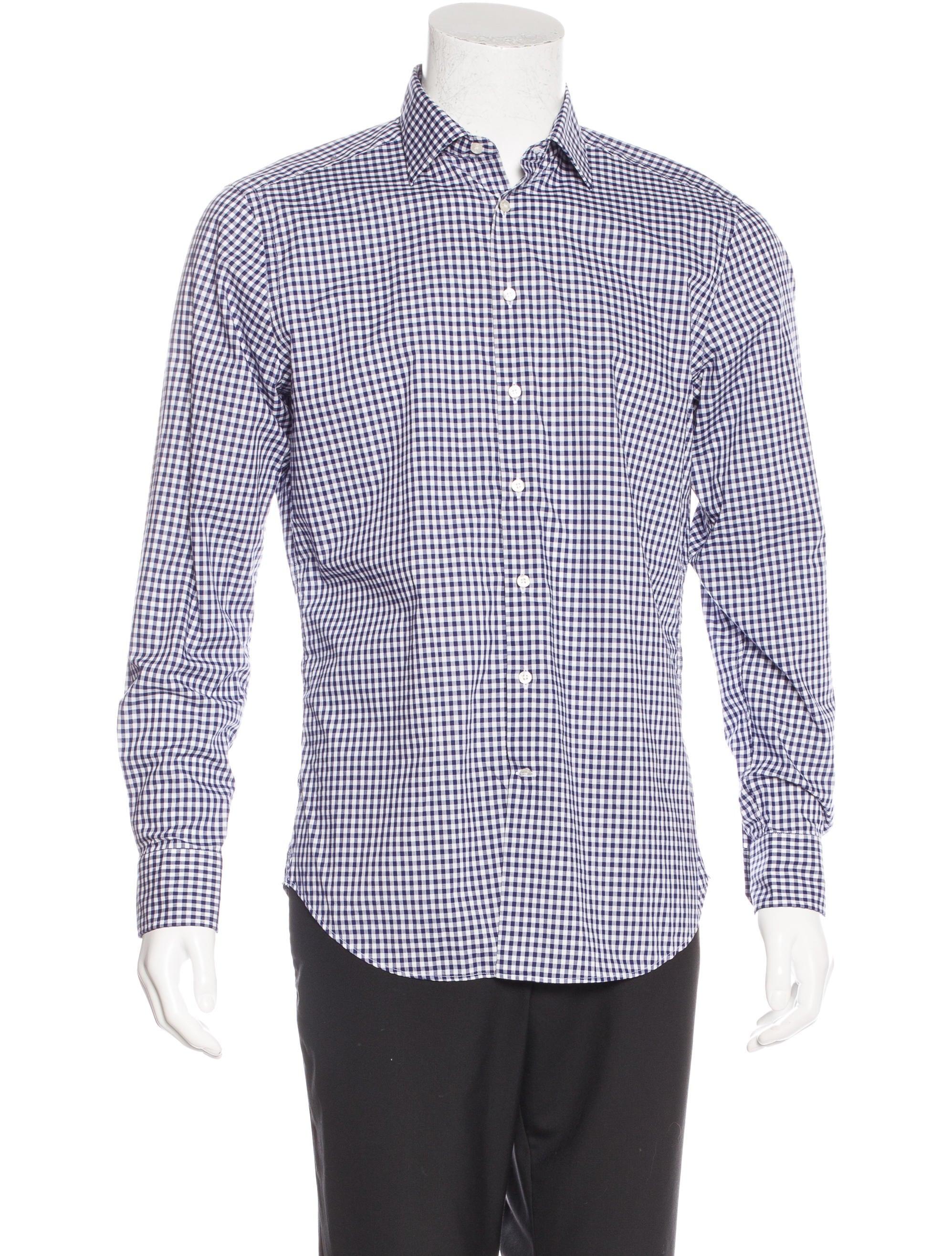 Etro gingham dress shirt clothing etr44634 the realreal for Gingham dress shirt men