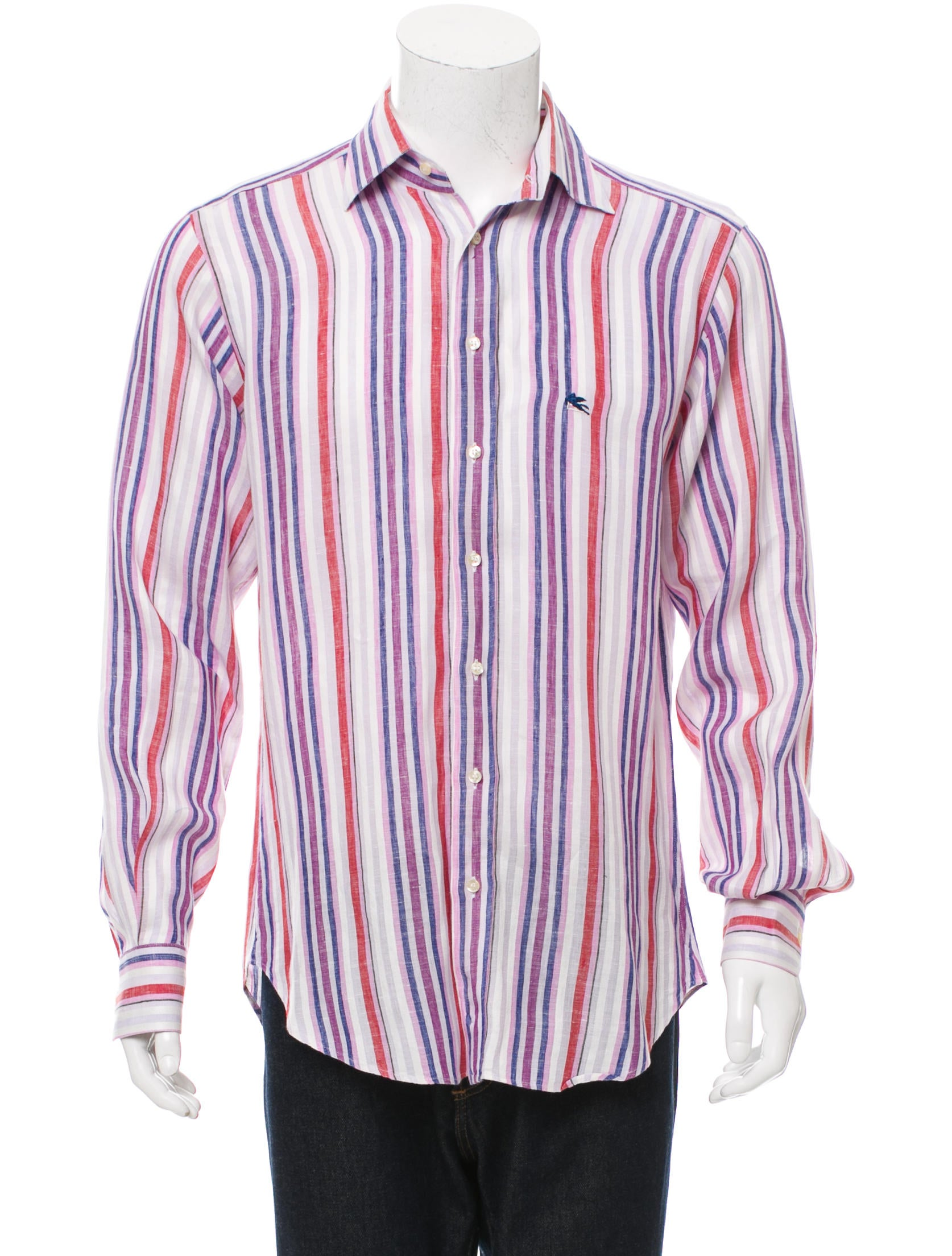 Etro striped button up shirt clothing etr44732 the for Striped button up shirt mens