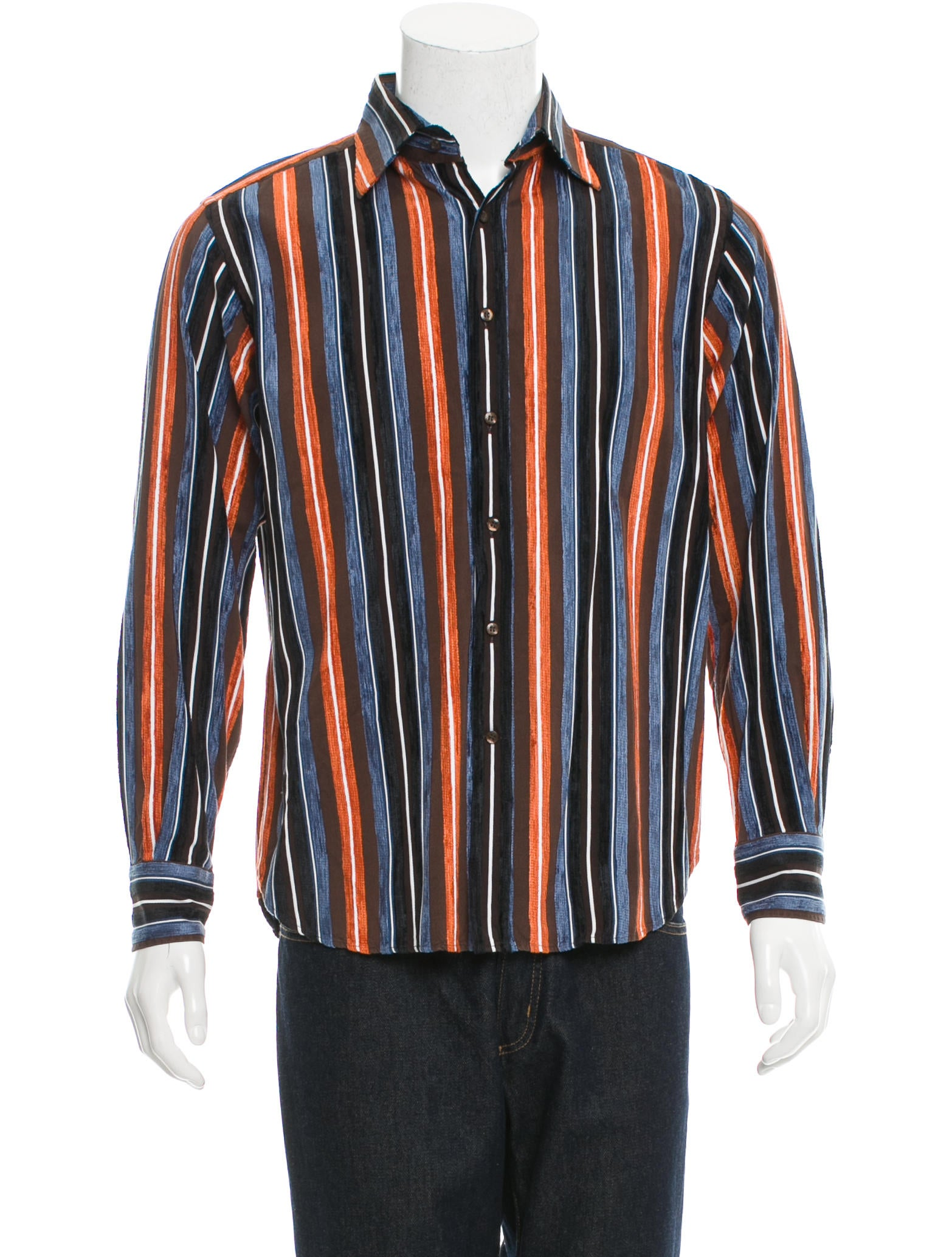 Etro striped button up shirt clothing etr45133 the for Striped button up shirt mens