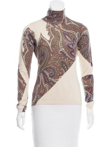 Etro Silk & Cashmere-Blend Printed Top None