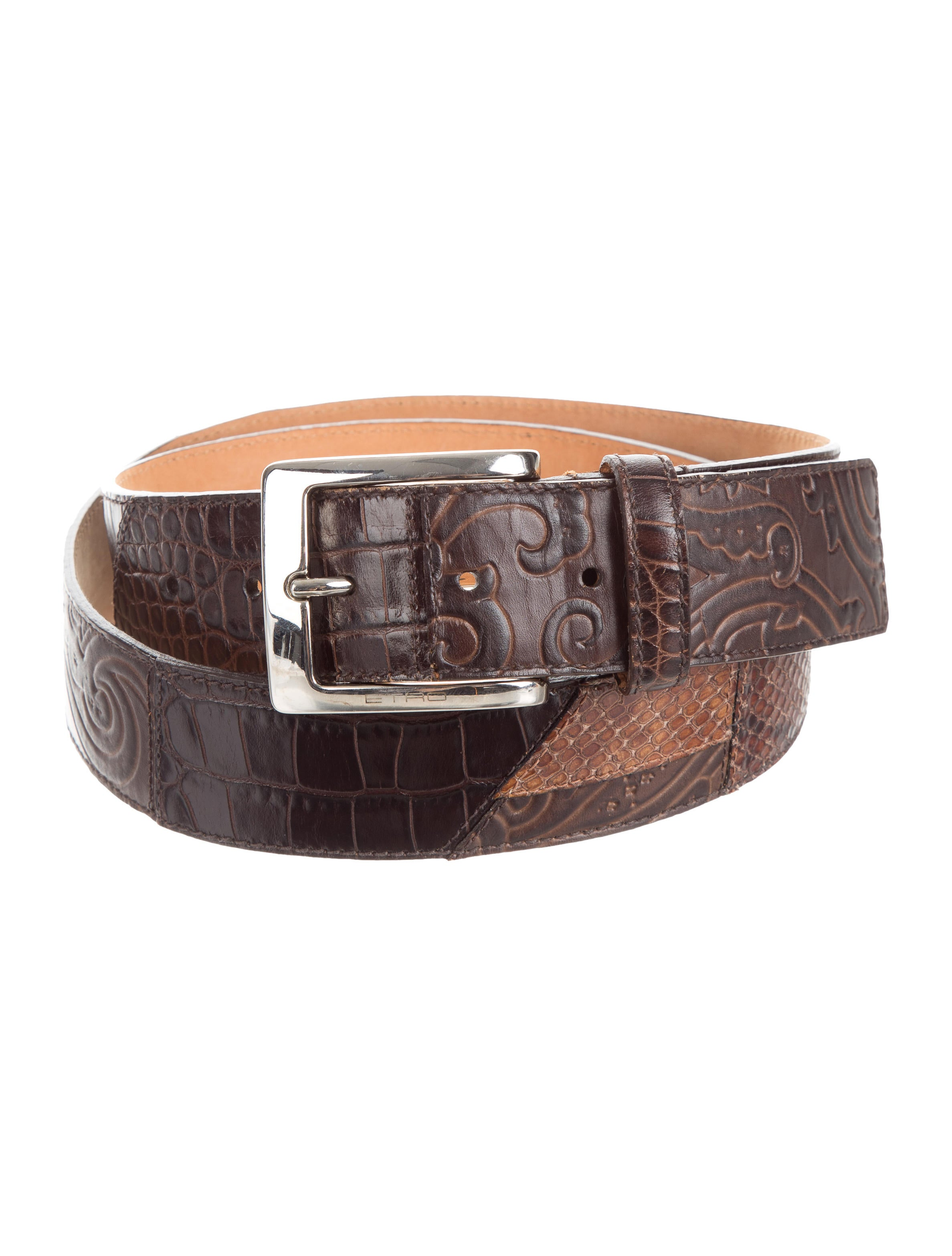 etro embossed leather belt accessories etr46133 the