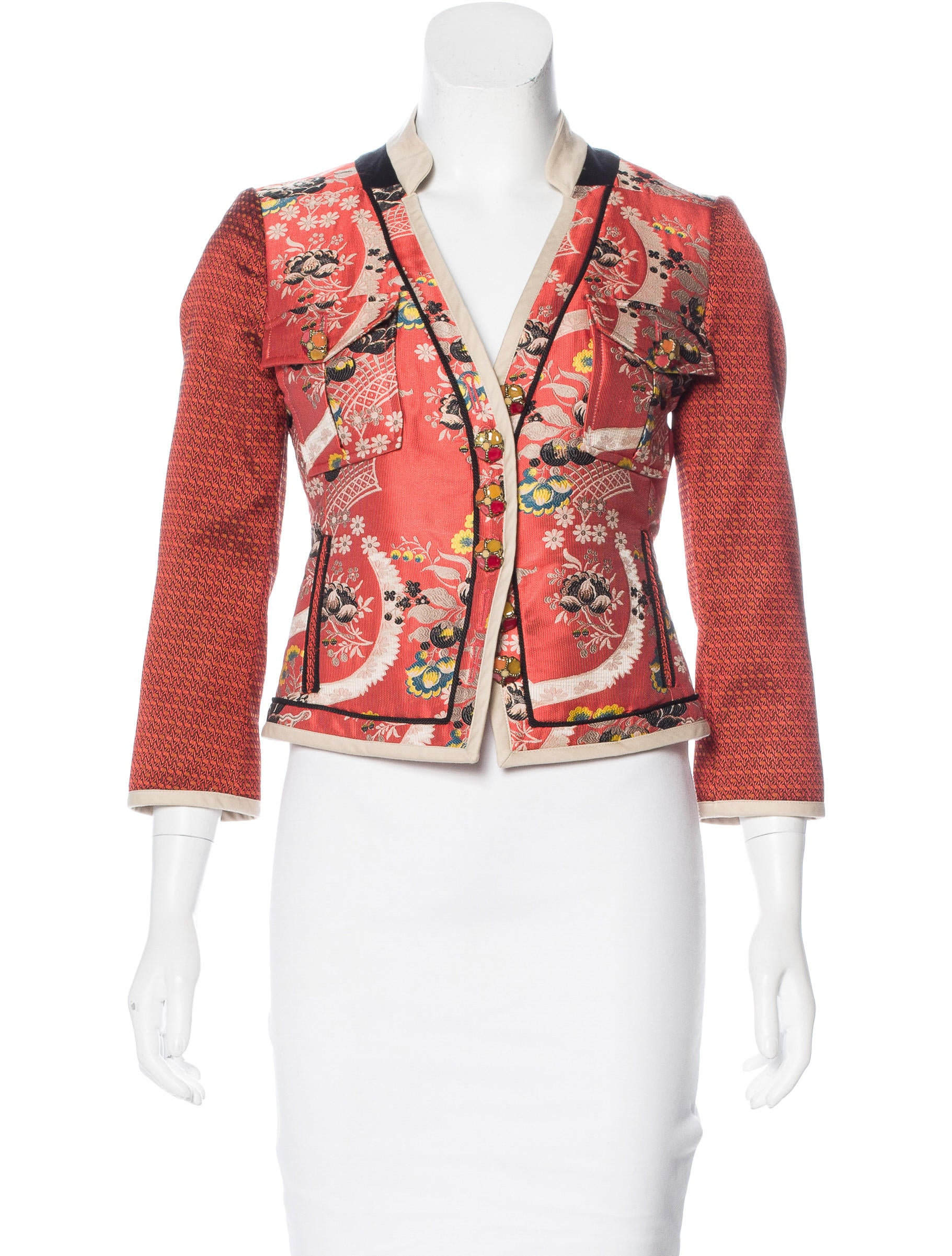 Etro jacquard stand collar jacket clothing etr46278 for Stand collar shirt womens