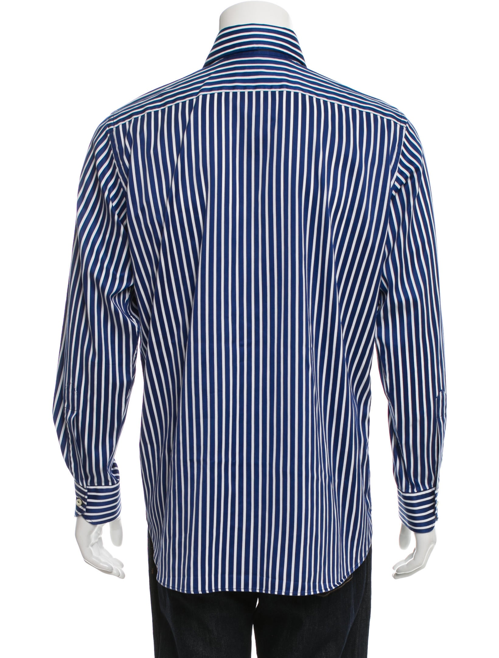 Etro striped button up shirt clothing etr46476 the for Striped button up shirt mens