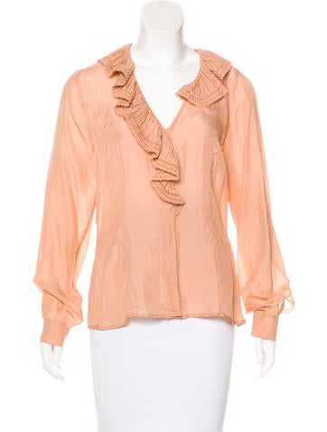 Etro Silk Ruffle-Trimmed Top w/ Tags None
