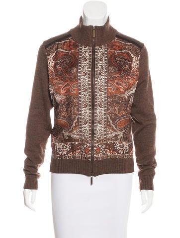 Etro Silk-Paneled Wool Cardigan None
