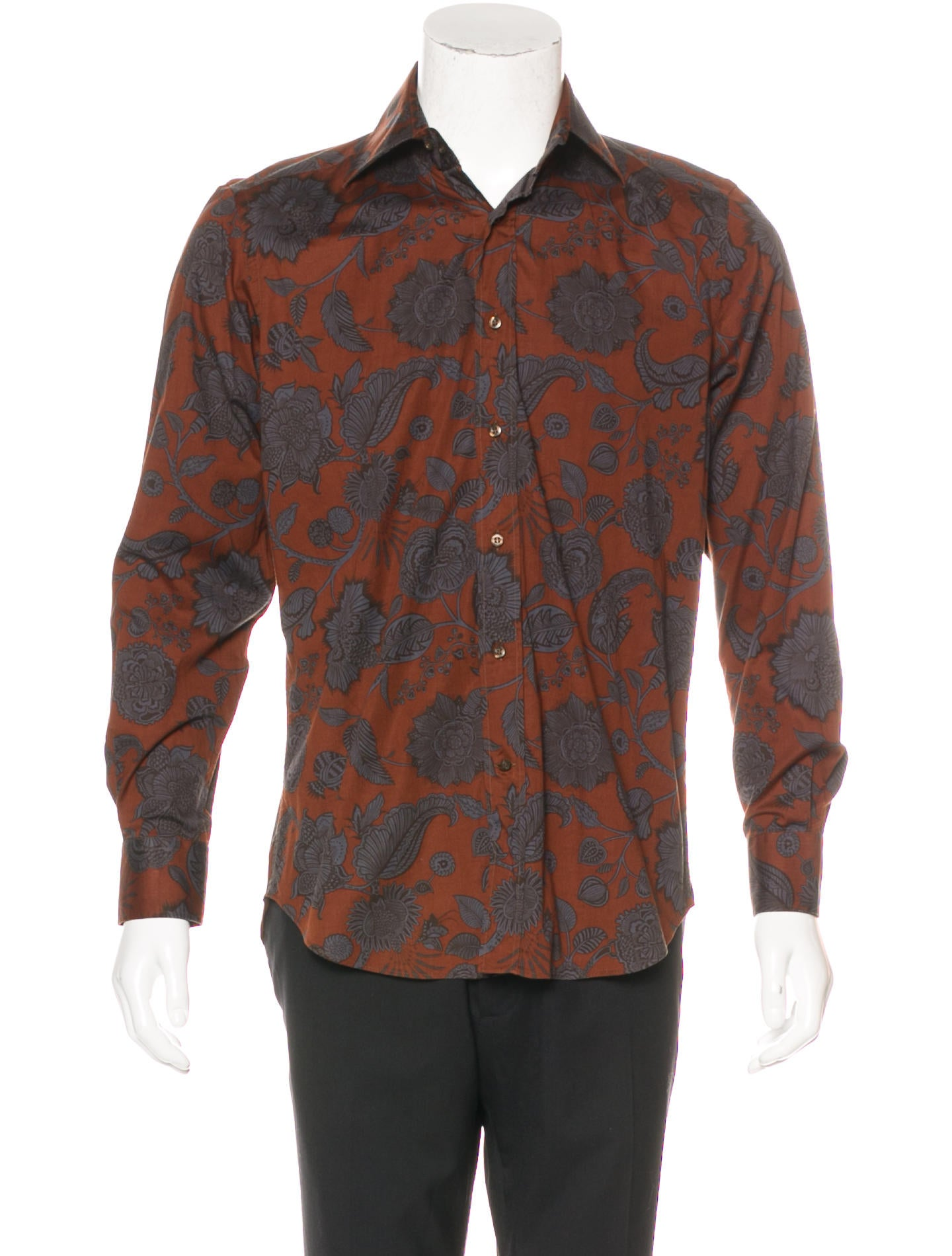 Etro floral print button up shirt clothing etr50286 for Etro men s shirts