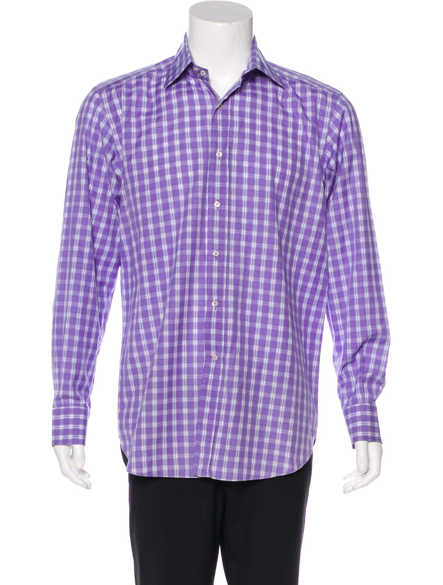Etro plaid button up shirt clothing etr50418 the for Purple plaid button up shirt