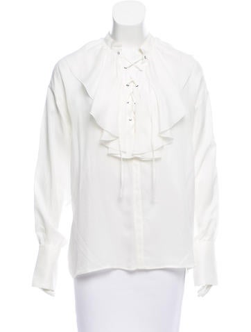 Etro Ruffle-Trimmed Lace-Up Blouse w/ Tags None