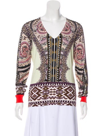 Etro Printed Long Sleeve Knit Top w/ Tags None