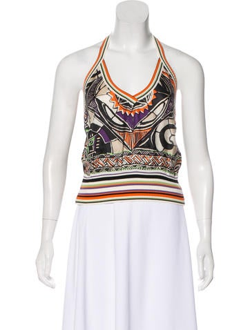 Etro Rib-Knit Halter Crop Top None